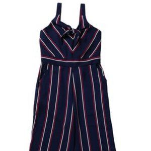 NWOT Zunie Stripe Knot Jump Suit, Navy, Size 10